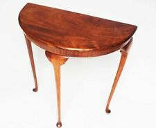 Vintage Queen Anne Style Walnut Demi Lune Console Table [6398]