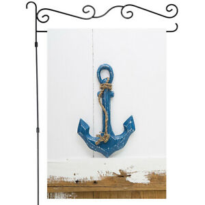Blue Anchor on White Wall Garden Flag House Banner Flag Yard Flag