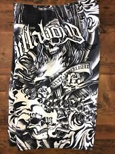 Billabong Board Shorts Mens Sz 31 Stitched Skull Black & White Wave Swim Trunks