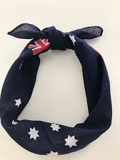 Women Girl Australian Day Flag Star Navy Party Bandana Hair Headband Wrap Scarf