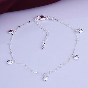 925 Sterling Silver PLATE 5 HEART Charm Anklet. 26 cm with Extension Chain KPAN4