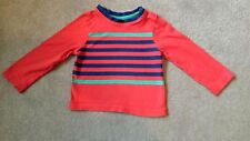 Boots Mini Club long sleeve t-shirt 9-12 months 100% cotton red blue striped