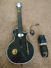 PS3 Guitar Hero Black Les Paul Wireless Guitar W/ Dongle! GOOD! FREE SHIP FAST!