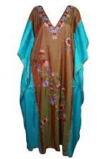 Bohemian Womens Hand Embroidered Shaded Kashmiri Caftan Boho Gypsy Hippy Kaftan