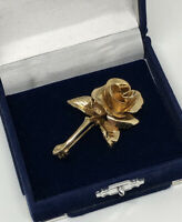 Vintage Brooch Gold Tone Rose Flower Design Pretty Kitsch Costume Jewellery