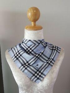"BurberryUnisex Blue Signature Plaid Checks Cotton Square Handkerchief 18"""