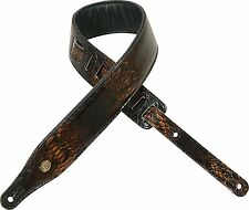 "LEVY'S PC17ES 2 1/2"" WIDE Padded Electric Snake LEATHER GUITAR STRAP BROWN"
