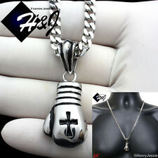 "24""MEN Stainless Steel 4.5mm Silver Cuban Curb Necklace Boxing Glove Pendant*P75"