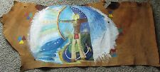 Native American Indian Folk Art PAINTING ON A COW HIDE PAINTED BY SHARON ECKARDT