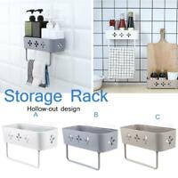 Wall Hanging Kitchen Storage Rack Holder Bathroom Towel Rack Shelf Organizer