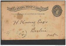 CANADA, Postcard 1893 1c black  rosette below 1s, fine (D)