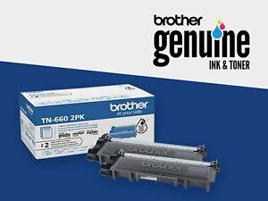 2-Pack Genuine Brother TN660 Black High-Yield Toner TN6602PK HL MFC DCP NIOB/UNS