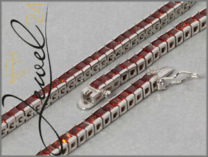 Damen Halskette echt Silber 925 Sterlingsilber mit rote Zirkonia 43 cm lang