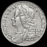 1757 George II Early Milled Silver Sixpence, AU #2