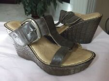 BORN Women's Shoes Brown Leather Sandals Wedges Large Buckle  9 / 40.5