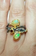 925 silver Double green fire Ethiopian Opal and Garnet gemstone ring size 6.25