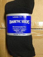 9 pair of Mens Black Diabetic Crew Socks sz 13-15 NWT