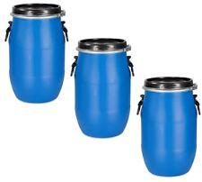 3 Stück 30 Liter Deckelfass Fass Futterfass Tonne mit Spannring und Dichtung.