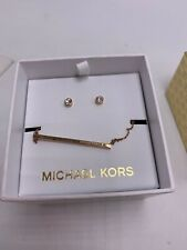 $115 MICHAEL KORS Women GIFT BOX SET Rose Gold Tone Necklace Crystal Earrings S3