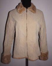 Cavalini Suede Faux Fur Trim Winter Fall Jacket Womans Sz M L