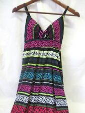 Derek Heart Maxi Dress Empire Waist Adjustable Straps Multi Color Jr M #6340