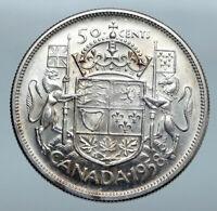 1958 CANADA Queen Elizabeth II Arms Crown VINTAGE SILVER 50 Cents Coin i85206