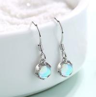 925 Sterling Silver Blue Opal Gemstone Drop Dangle Earrings Gift Box D28