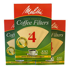Melitta Coffee Filters #4 Lot Of 3 Count Boxes 100 Natural Brown Super Premium