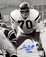 SAM HUFF SIGNED 8x10 PHOTO + HOF 1982 WASHINGTON REDSKINS LEGEND BECKETT BAS