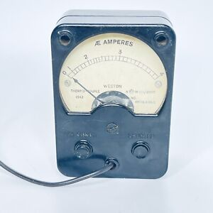 WESTON THERMO COUPLE AM AE AMP METER 1942 AMPERES ANTIQUE VINTAGE SPARES