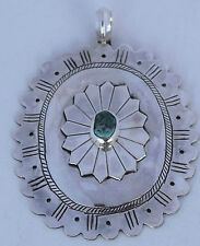 Vintage Native American Navajo sterling silver & Turquoise HUGE concho pendant