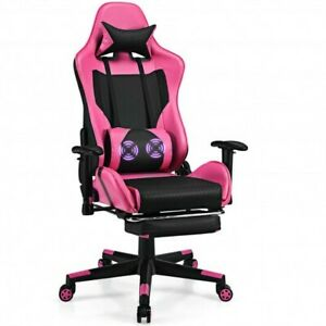 PU Leather Gaming Chair with USB Massage Lumbar Pillow and Footrest -Pink - Col