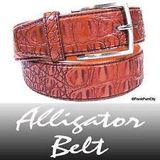 Leather Brown Alligator Belt / Crocodile Belt - M