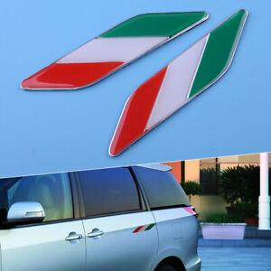 Pair Italy Italian Flag Car Auto Fender Door Side Emblems Badges Stickers Decals