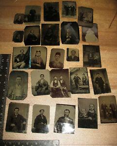 25 Civil War era - 1870's Tintypes Men Women Children