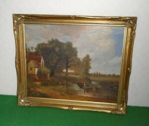 OIL PAINTING ENGLISH LANDSCAPE JOHN CONSTABLES THE HAYWAIN ORNATE GILT FRAME
