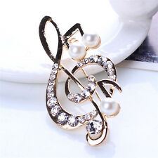 Women Elegant Music Note Rhinestone Pearl Brooch Lovely Brooch Charm Jewelry ^