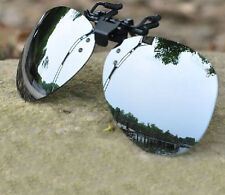 1pair Silver Unisex Sunglasses Clip On Flip Up Driving Glasses UV 400 Protective