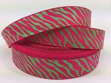 "BY The Yard 7/8"" Hot Pink Zebra Print Grosgrain Ribbon Hair Bows Head Bands Lisa"