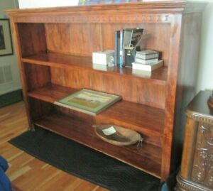 """Carved Solid Wood 3-Shelf Bookcase TLC Project Mission Modern 72"""" L x 48.5"""" H"""