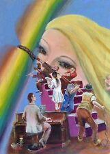 """Nouveau superbe LEON Goodman l'huile originale """"Rainbow's End"""" la peinture surréaliste"""