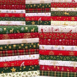 CHRISTMAS FABRIC PATCHWORK QUILTING CRAFTS SCRAPS SQUARES BUNDLE 100% COTTON