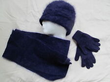 New dark purple eggplant angora beanie hat scarf gloves sz S - L
