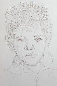 Vintage modernist drawing portrait signed
