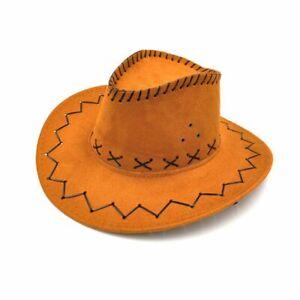 Western Cowboy Hat Vintage Wide Brim Headwear Cap Men/Women Jazz Bucket Cap