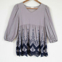 Altar'd State Women's Bohemian Boho Chic Babydoll Long Sleeve Lace Blouse -Sm