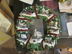 "Item no:900308001  Thomas Kinkade Illuminated ""Christmas Village"" Wreath"