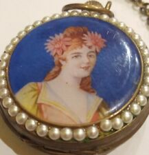 Enamelled Panels With Chain Running Order 99p No Reserve Hunter Pocket Watch
