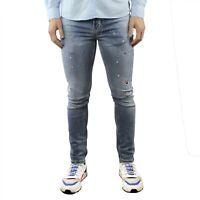 Jeans Uomo Elasticizzato Denim Slim Fit Strappati Estivo Cinque Tasche Pantalone