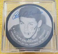 ALEX DELVECCHIO HOF SIGNED VINTAGE DETROIT RED WINGS CANADA SLUG PUCK NHL NO COA